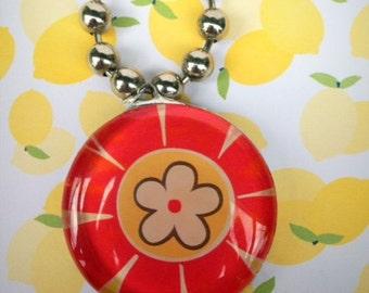 Soldered Flower Pendant Necklace on Super Chunky Beadball Chain