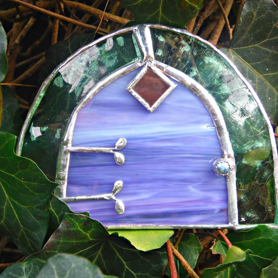 Stained glass fairy door pixie tinkerbell door elf hobbit for Tinkerbell fairy door