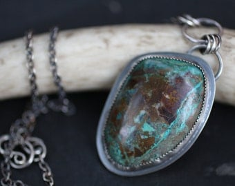 "Silver Chrysocolla Necklace - ""Urban Cowgirl Necklace"""