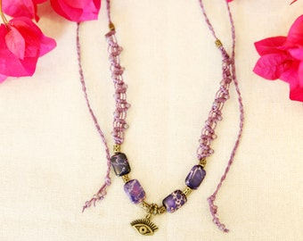 Tribal necklace, macrame necklace, eye of Horus, ethnic necklace ~   Sea Sediment Jasper Necklace