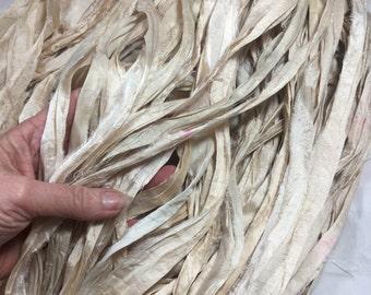 10 yd Sari Silk Ribbon Off White Winter White Cream Bone Free Combined Shipping Jewelry Fair Trade Weave