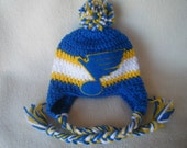 Crocheted Blues Hockey Inspired Baby Beanie/Hat (or Choose a different team)  - Made to Order - Handmade by Me