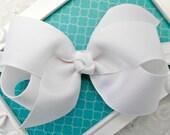 "White Bow Headband White Baby Bow Headband White Newborn Headband Medium 4"" Bow Headband White Baptism Headband Christening Headband Bow"