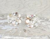 Ivory Bridal Studs-Bridal Cluster Earrings-Art Deco Bridal Studs- Ivory Post Earrings-Wedding Earrings- Vintage Inspired Studs- Brass Boheme