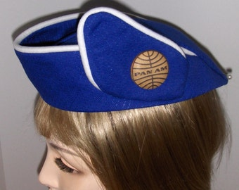 Pan Am Custom Made AIRLINE STEWARDESS HAT Flight Attendant - Royal Blue