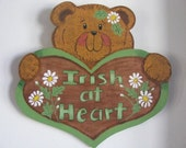 Bear, St. Pat's Day, wall hanging, wall decor, Irish, handpainted