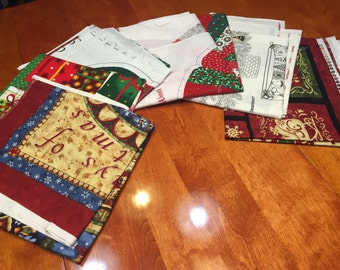 Set of 6 Christmas Applique set - Fabric Christmas Appliques by MarlenesAttic