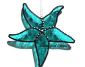 Stained Glass STARFISH Suncatcher, Turquoise Aqua Starfish, Decorative Soldering, USA Handmade Original Design, Beach Decor, Sea Star