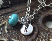 Initial and Birthstone Necklace, Charm Necklace, Tiny Initial Necklace with Bead Charm, Mother's Jewelry, Gift for Mom, Kyleemae Designs