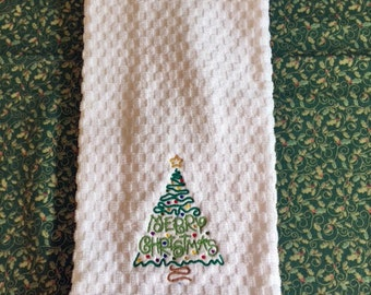 Embroidered Holiday Christmas Tree Waffel Weave Kitchen Towel Dish Towel