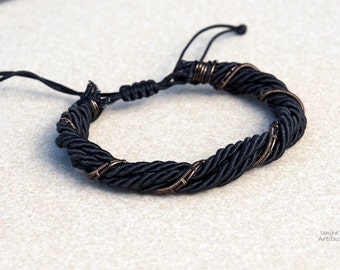 Multi strand bracelet Gothic Men's jewelry Goth Black Gift for him her Mens Wire wrapped Wrap Everyday casual cool trendy modern multicord