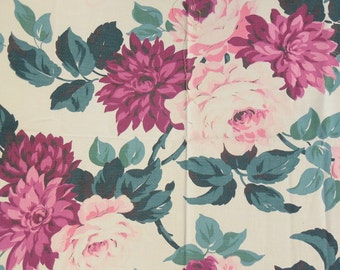 Pink Flower Bark Cloth Vintage
