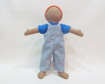 """Little doll overalls outfit for 11"""" Doll, gender neutral doll clothes, handmade doll clothes, ready to ship"""