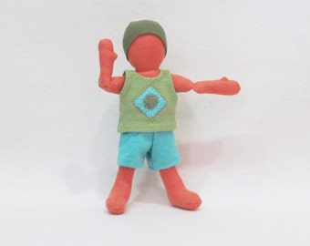 "Pocket doll clothes, organic cotton doll clothes, gender neutral doll clothes , handmade doll clothes for 7"" doll"