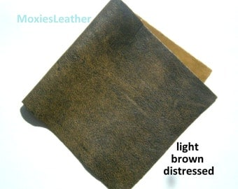 Light brown distressed leather soft cowhide 6x12 used look leather - new leather