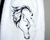 Embroidered Horse Hand Towel. Derby Party Decor. Equestrian Decor. White Hand Towel. Horse Silhouette.  Bathroom Decor. Powder Room.