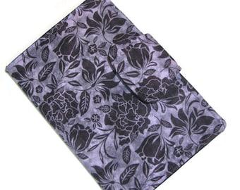 Kindle Case Tablet Case Kobo Sony Kindle Fire Hd Ereader Case Kindle Touch Cover eReader Cover- Book Style- Purple Flower