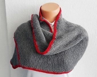 Gray and red Scarf Shawl ,Shawl Shoulder Wrap Shoulder Shawl Knitted Scarf Shawl, winter accessories,autumn,Poncho Scarf Shawl,