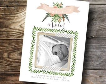 woodland Floral Birth announcement