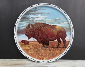 Vintage Buffalo Metal serving Tray w/ Buffalo oil painting style print