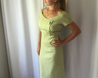 1950's Dress 50's Sage green Linen Summer Day Dress Wiggle Dress Mid Century Fashion