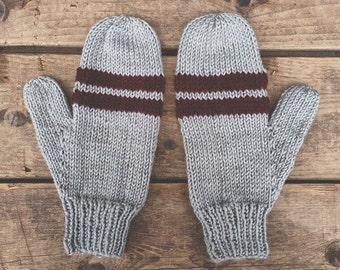 Hand knit stone grey & burgundy stripe mittens