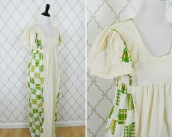 Vintage 1960's Patchwork Print Prairie Dress - Maxi Length Cotton dress - Empire waist full length dress - ladies size small to medium