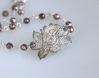 Gladiolus Pendant Sterling Silver- Lace Impressed Necklace with hand Wire Wrapped Faceted Freshwater Pearls