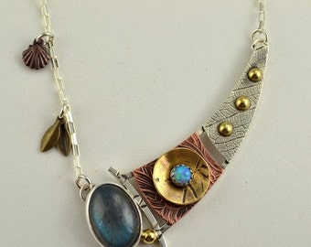 Labradorite and Opal Necklace - Metalsmith Necklace -Mixed  Metal Jewelry