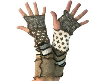 Brown Arm Warmers, Upcycled Clothing, Brown Fingerless Gloves, Upcycled Arm Warmers, OOAK Arm Warmers,  Handmade Arm Warmers, Gift for Her