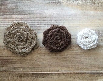 """Set of 10- Burlap Rosettes-3.5"""" Large- 3 Colors Available- Weddings/ Country/ Folk/ Rustic-Americana-Fabric Flowers-Home DIY Projects"""