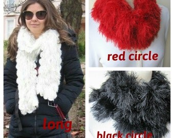 Eyelash scarf - Rabbit Faux fur scarf,knitted crochet neckwarmer- long- circle winter scarf red/black/brown/off white- womens scarves scarf