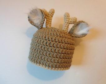 Newborn Crochet Deer Hat, Photo Prop Baby boy Baby girl