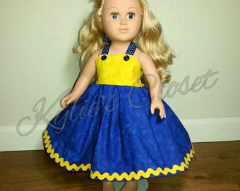 Minion-inspired Doll Dress to fit American Girl Sized Dolls - Movie - Despicable Me- Gift - Girls - Birthday - Christmas - Matching