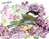 ACEO Limited Edition 2/25- Chickadee in a lilac bush, Art print of an original ACEO watercolor, Gift for bird lovers, Birthday gift