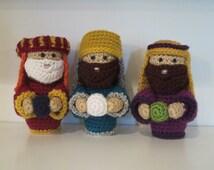 Set of 3 Wisemen- crochet, holiday decor, Christmas Nativity Set