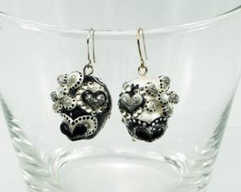 Skulls earrings stone day of the dead skulls black and white