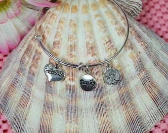 Grandmother Bracelet....Grandmother Gift....Expandable Silver Plated Bangle Bracelet...Family Bracelet