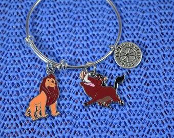 Lion King Simba and Pumbaa....Circle of Life..... Child Size  Silver Plated Expandable Bracelet...Children's Bracelet..Girl's Bracelet