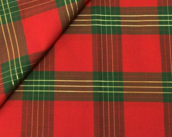 Cotton Fabric / Red and Green Cotton Plaid / Christmas Plaid Fabric  / Plaid Cotton Fabric / Christmas Fabric / Quilting Fabric