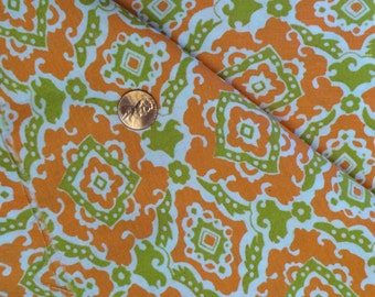 Cotton Fabric / Vintage Cotton Fabric / Orange Cotton Fabric / Retro Fabric / Avocado Green Fabric / 1960's Fabric