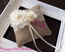 Burlap Ring bearer Pillow, lace ring bearer wedding pillow