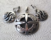 Mexican Shadowbox Sterling Silver Taxco Vintage Jewelry Set Pendant Eagle Mark Modernist Frida Kahlo Made in Mexico