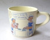 Popeye Cup Mug Eat Spinach Advertising Promotion King Features Syndicate Cartoon Comics 1950s Mid Century Coffee Nursery Office Decor