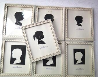 Framed Silhouettes Portraits L Pierre Bottomer Set of Seven 1950s Signed Children Boys Girl Wooden Frames Positive Negative Cut Paper Decor