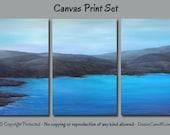Multi panel, Canvas art print set, Teal and gray wall art Large, Blue violet, Coastal home decor, Beach, Office Artwork, Bedroom, Landscape