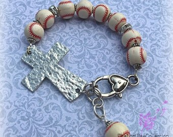 Baseball Cross Bracelet, Baseball Mom Jewelry, Baseball Jewelry, baseball Mom Cross ~ Softball Cross Bracelet