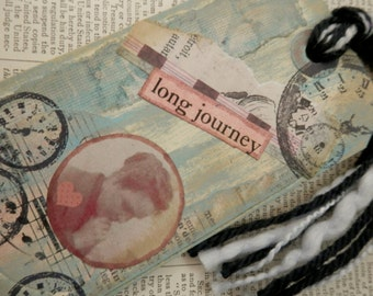 "ART/JOURNAL/INSPIRATION Tag - Collage with Book Text Snippet - ""Long Journey""  One-of-a-Kind"