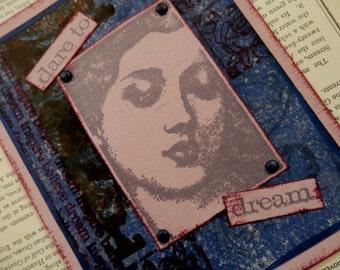"ALL OCCASION CARD Blank Inside ""Dare To Dream"" Indigo Blue Plum Lavender Burgundy"