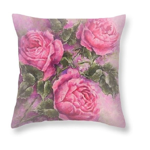 pink rose pillow shabby chic decor pink flower by RoyalRococo